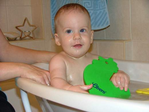 Playing with bath toy