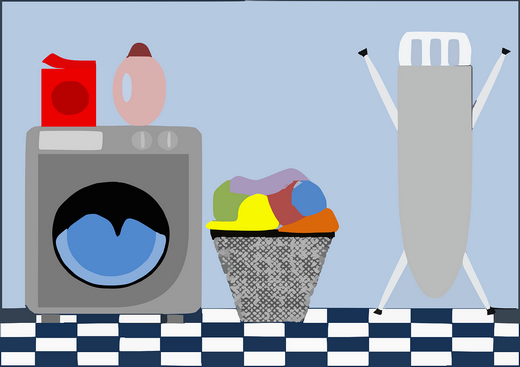 A drawing of a laundry room with a washer, washing products, laundry basket with laundry and an ironing board.