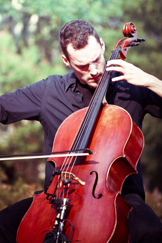 Man playing a cello musical instrument