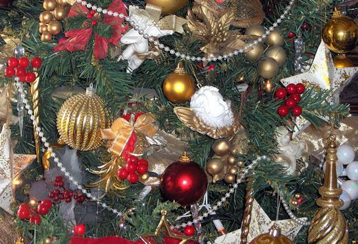 Variety of ornaments on Christmas tree