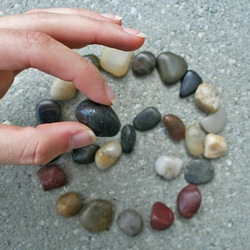 Collecting and arranging pebbles