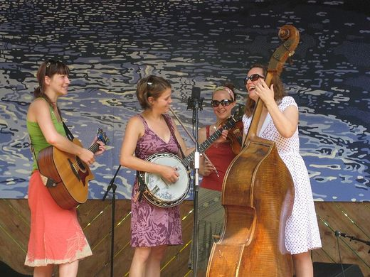 Female bluegrass band playing