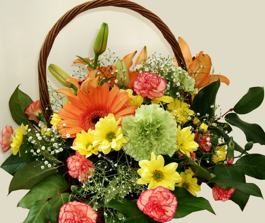 Flowers gift basket
