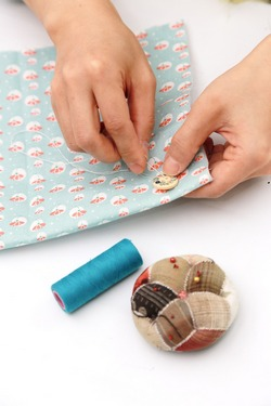 Teach child hand sewing