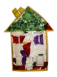 Kid crafts idea - house collage