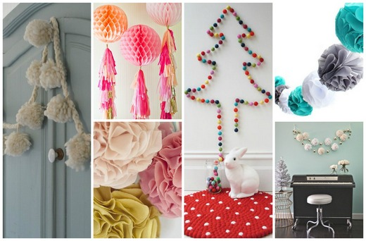 A collage of pom-pom decorations