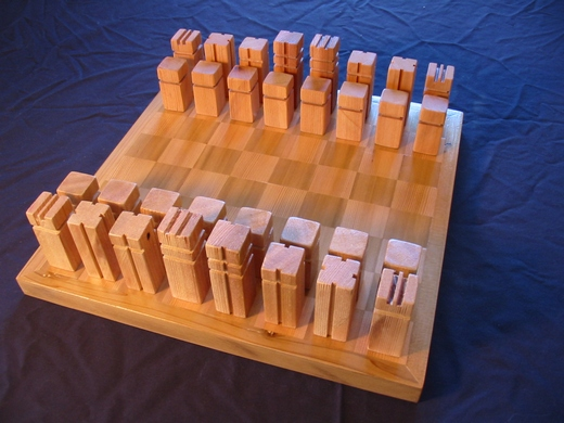 Chess set made out of cedar wood