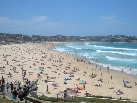 Bondi beach summer crowds, Sydney, Australia