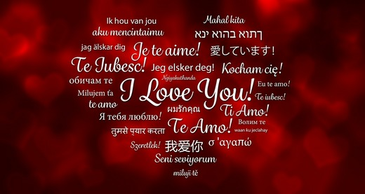 'I Love You' written in many different languages
