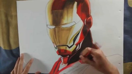 Drawing Iron Man in colour