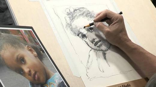 Drawing a child's face from a photo
